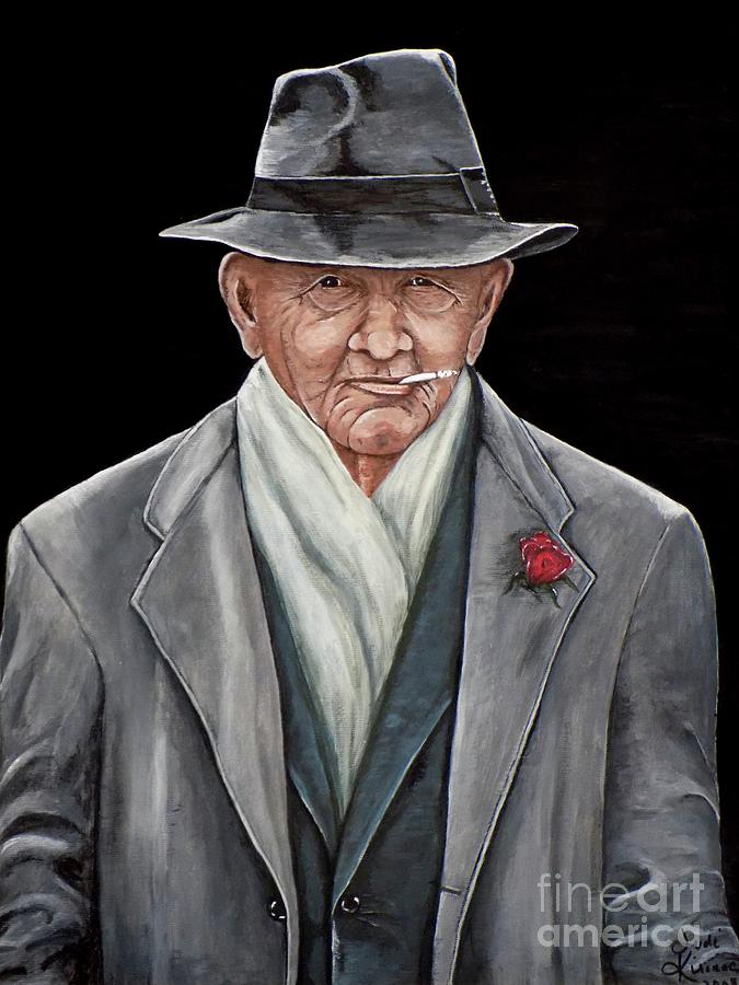 Old Man Painting - Spiffy Old Man by Judy Kirouac