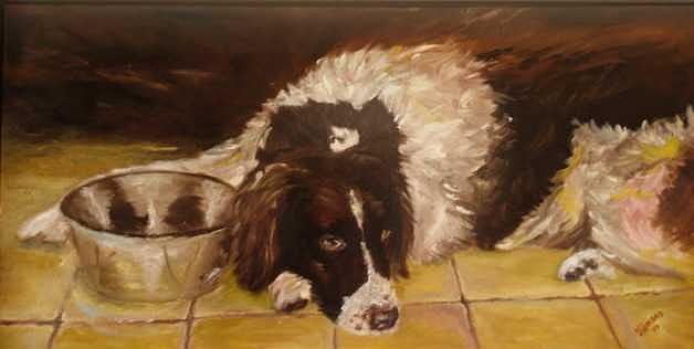 Dutch Partridge Dog Painting - Spike My Dutch Partridge Dog by Elisabeth Vismans