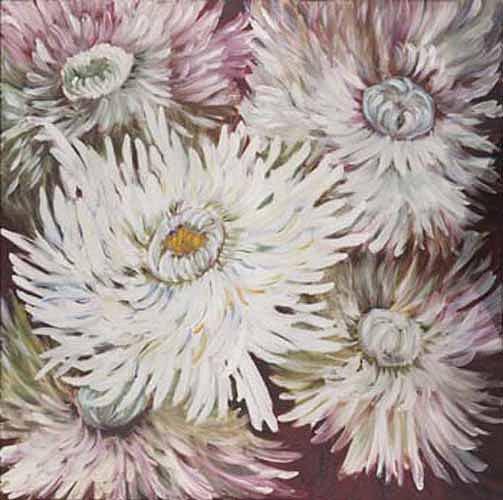 Floral Painting - Spiky Chrizanthemums by Luba Sterlikova
