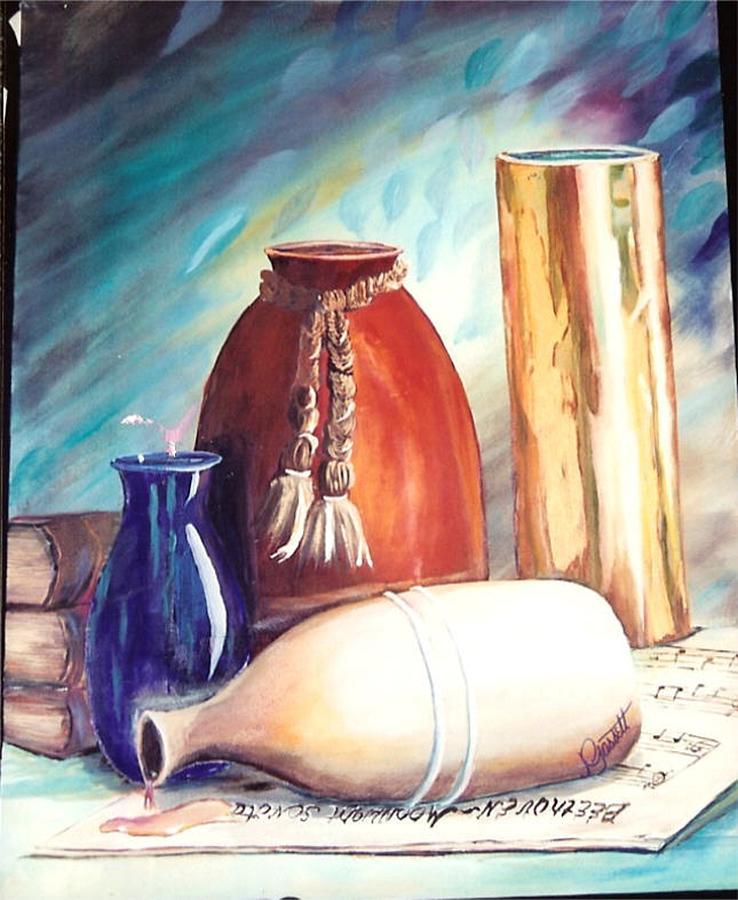 Vase Painting - Spill Over Beethoven by Joan Gossett