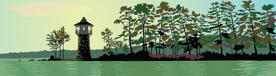 Lake Painting - Spindle Point by Marian Federspiel