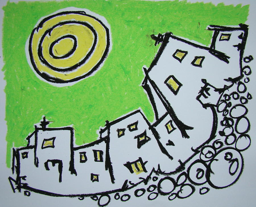 Oil Pastel Pastel - Spinning City by Pat  Lackenbauer