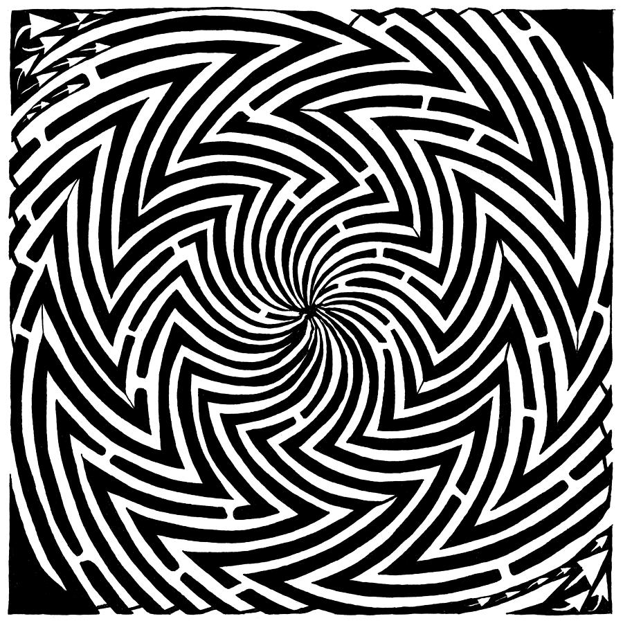 Spinning Drawing - Spinning Optical Illusion Maze by Yonatan Frimer Maze Artist