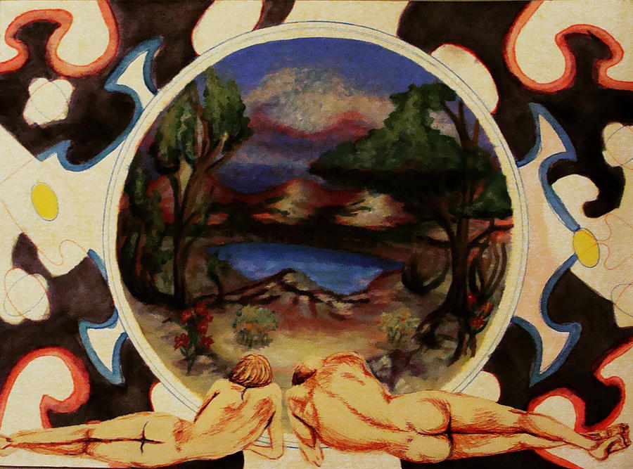 Landscape Painting - Spinning Out Of Eden by Courtney Barriger