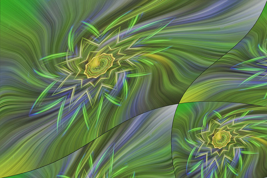 Abstract Photograph - Spinning Star Tiles by Linda Phelps