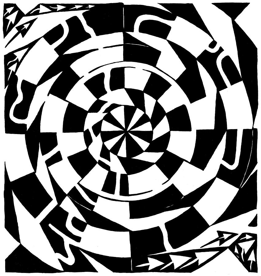 Spinning Drawing - Spinning Tunnel Maze by Yonatan Frimer Maze Artist