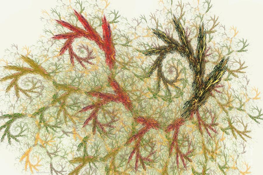 Digital Digital Art - Spiral Embroidery by Deborah Benoit