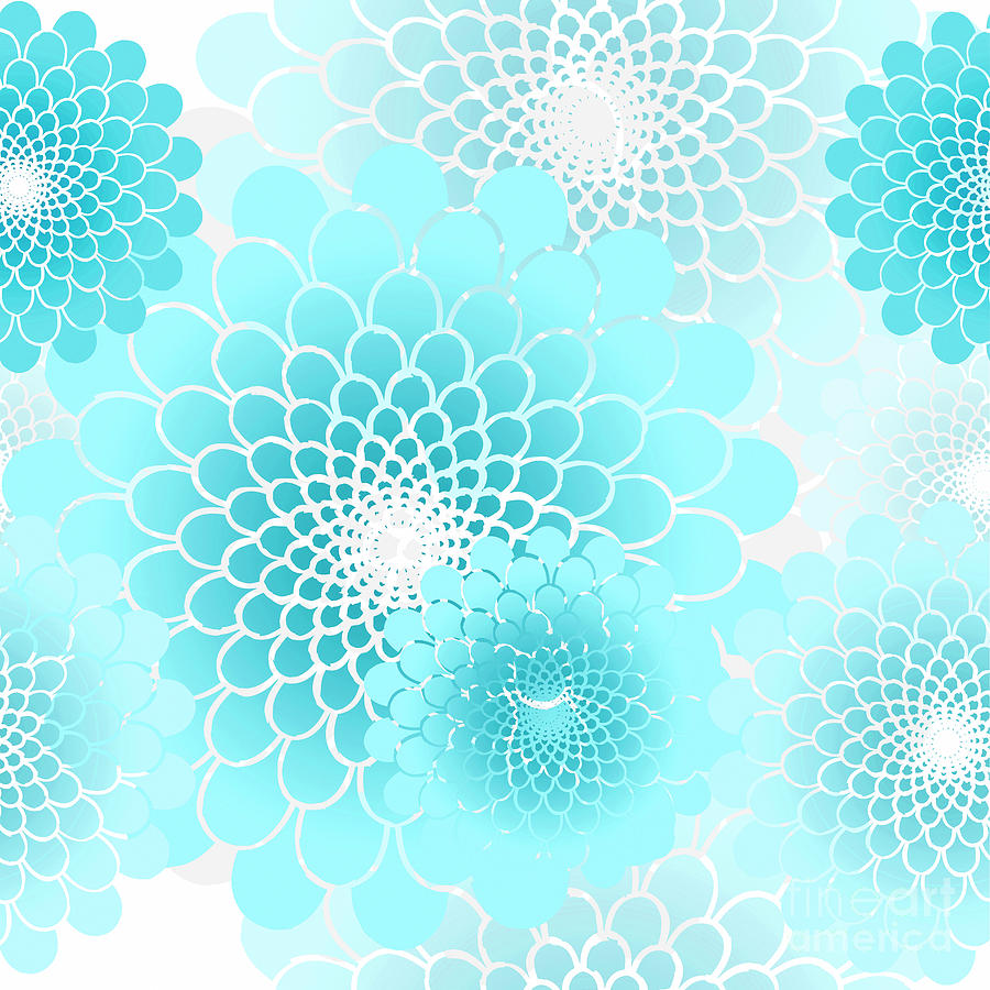 Spiral flowers leaves pattern geometricl floral aqua blue digital flowers digital art spiral flowers leaves pattern geometricl floral aqua blue by tina lavoie izmirmasajfo