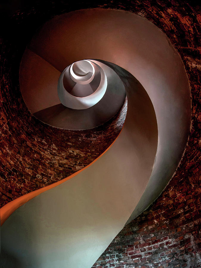 Staircase Photograph - Spiral  Staircase In An Old Lighthouse by Jaroslaw Blaminsky