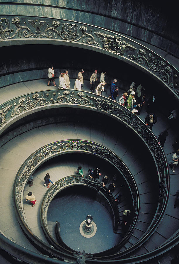 Spiral Staircase Photograph - Spiral Staircase In Vatican 2 by Carl Purcell