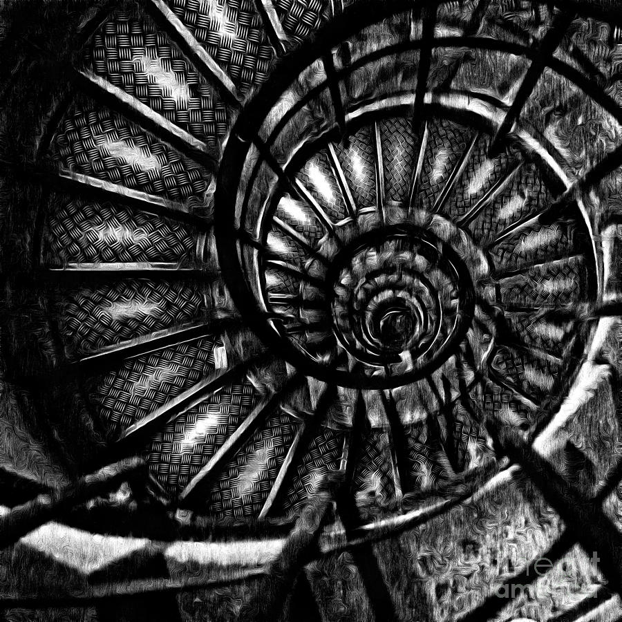 Paris Digital Art - Spiral Staircase Paris France by Edward Fielding