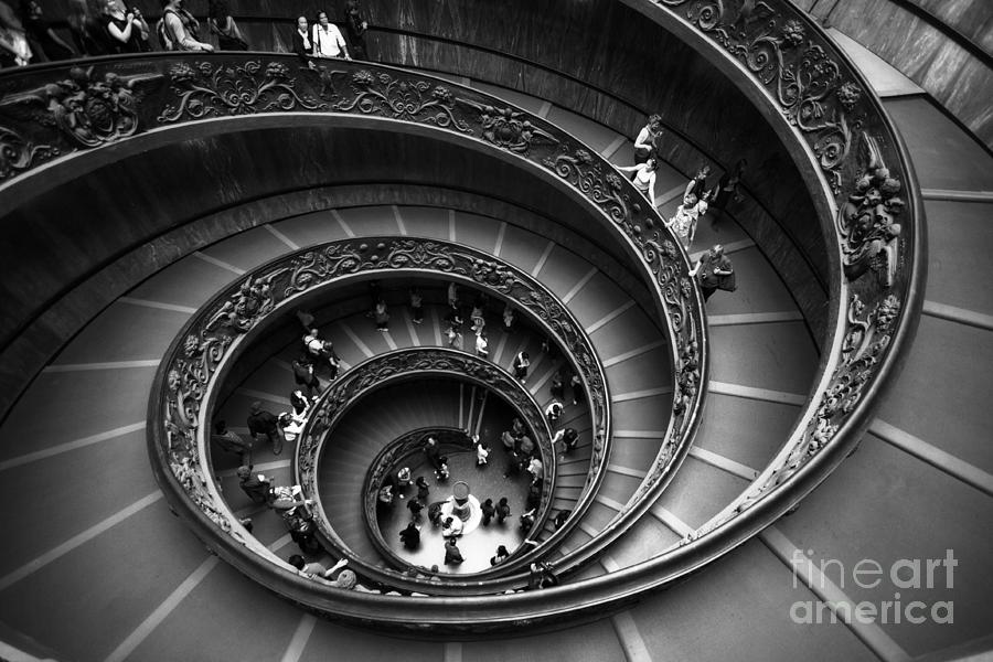 People Photograph - Spiral Stairs Horizontal by Stefano Senise
