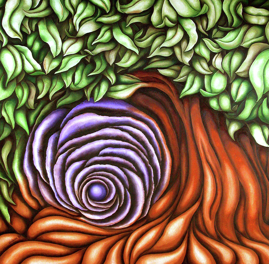 Secondary Painting - Spiral Tree by Diana Durr