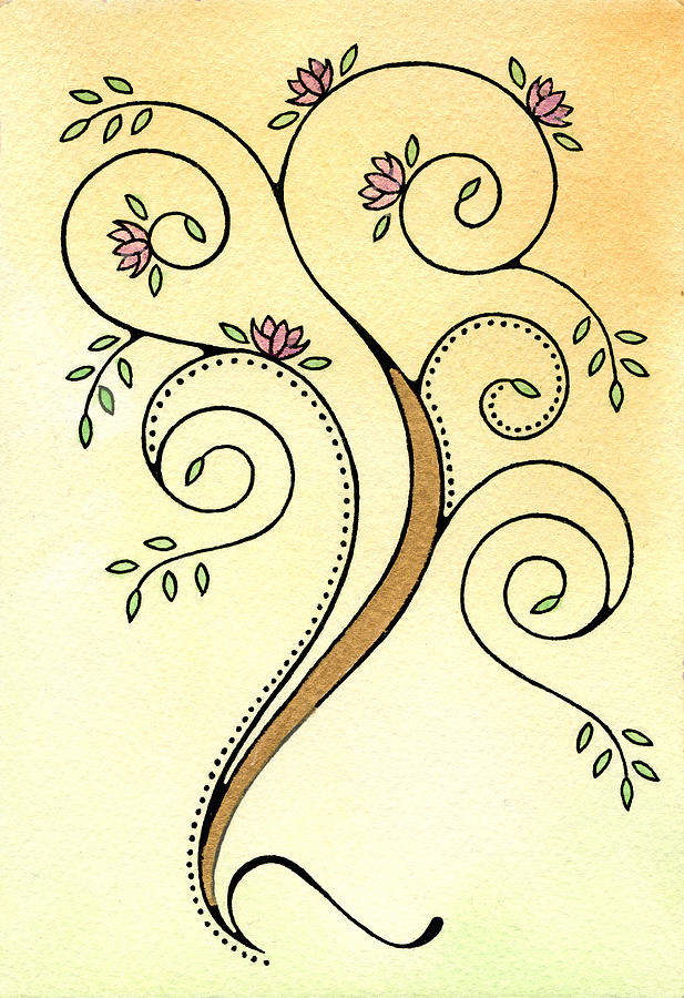 Tree Painting - Spiral Tree by Nora Blansett