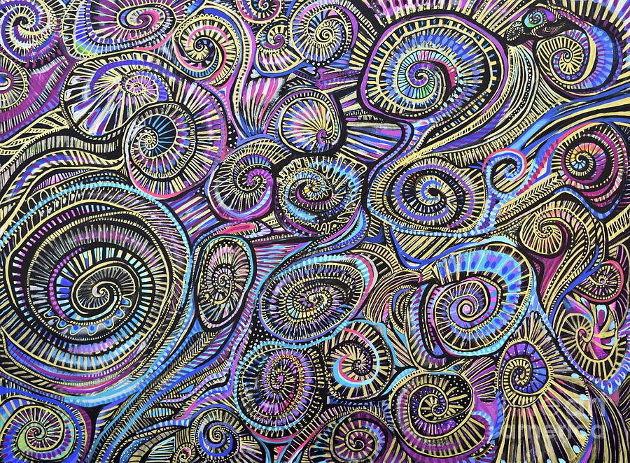Blues Painting - Spirals and spirals  by Priscilla Batzell Expressionist Art Studio Gallery