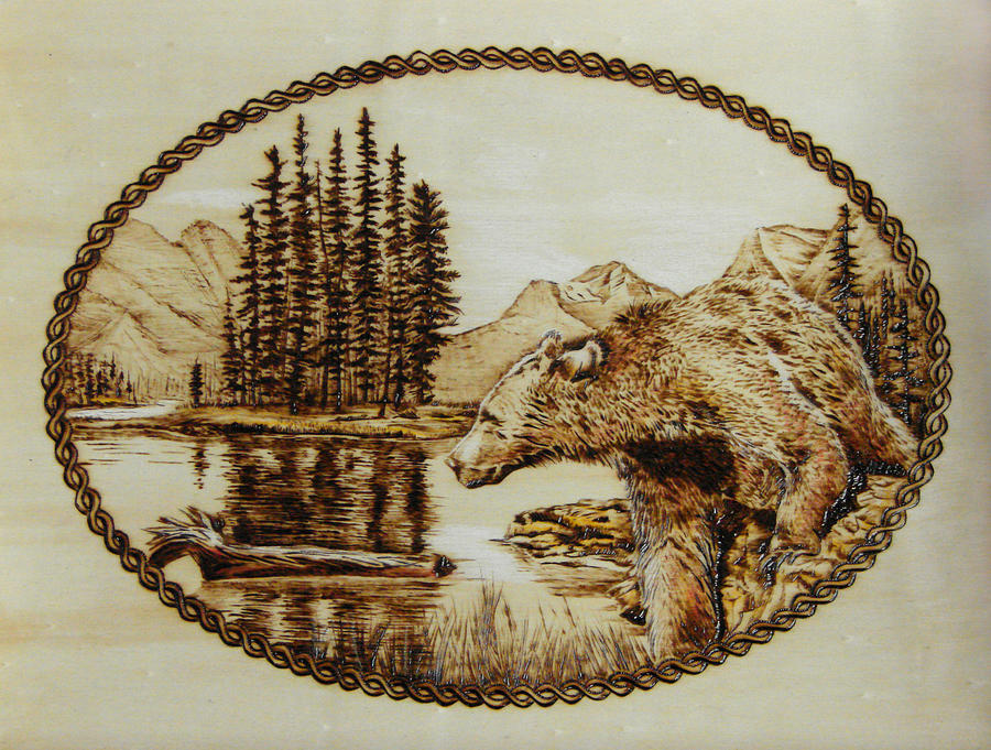 Grizzly Pyrography - Spirit Bear by Chris Wulff