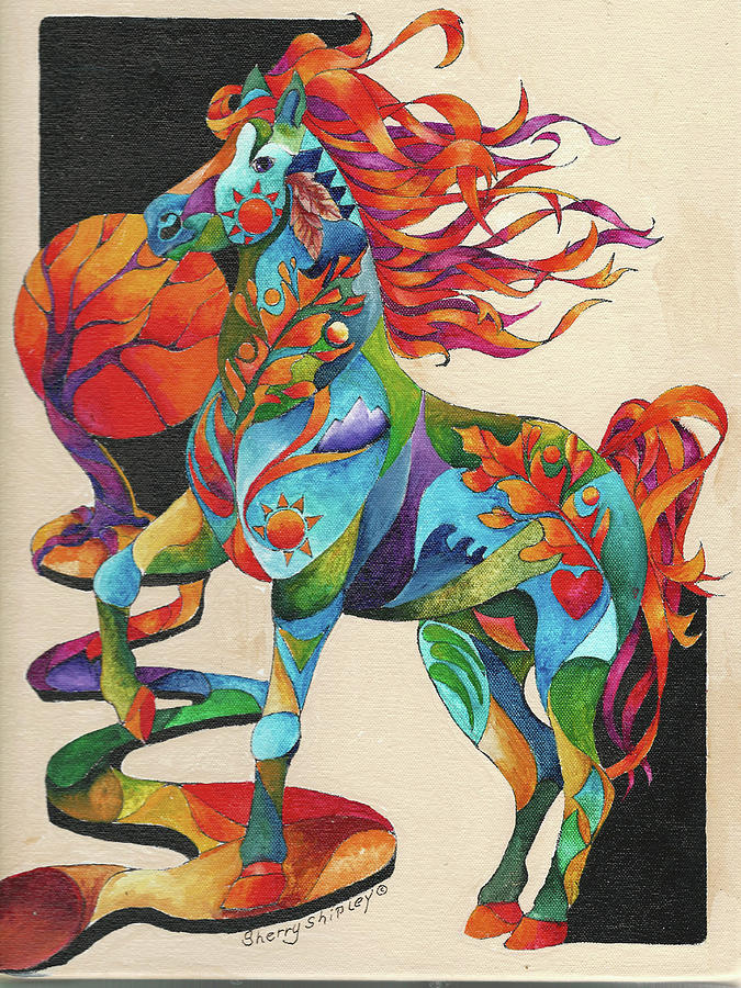 Horse Painting - Spirit Horse Totem by Sherry Shipley