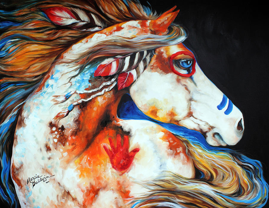 Indian Painting - Spirit Indian War Horse by Marcia Baldwin