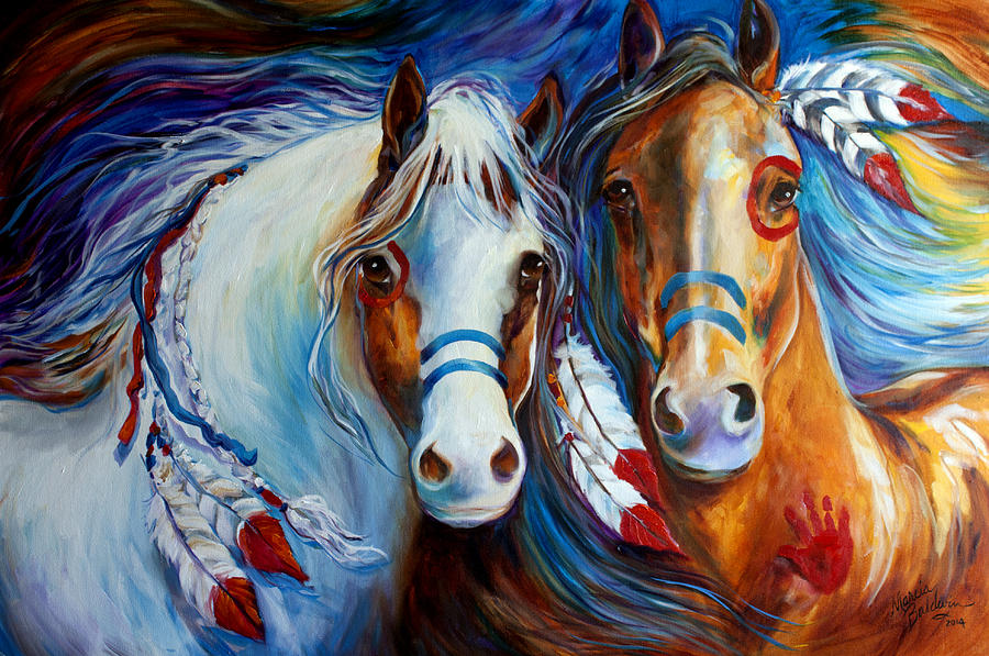 Indian Painting - Spirit Indian War Horses Commission by Marcia Baldwin