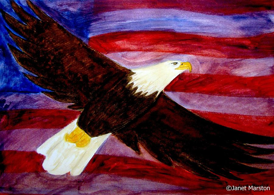 Spirit of america bald eagle painting painting by janet for America s finest paint