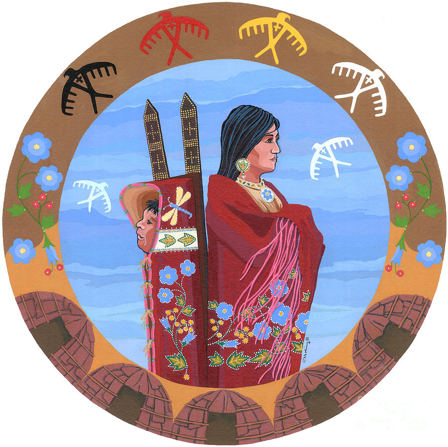 Native American Women Painting - Spirit of Eagles by Chholing Taha