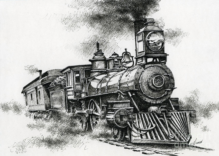 Line Drawing Train : Spirit of steam drawing by james williamson