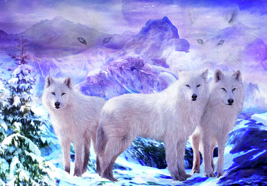 Carol Cavalaris Mixed Media - Spirit Of The Arctic Wolf by Carol Cavalaris