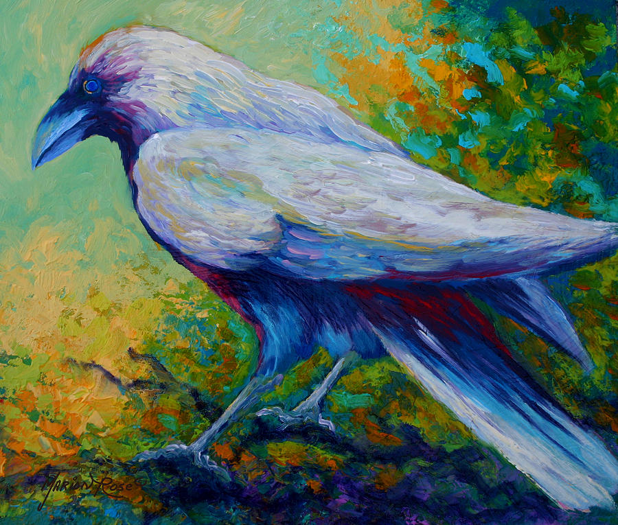 Crows Painting - Spirit Raven by Marion Rose