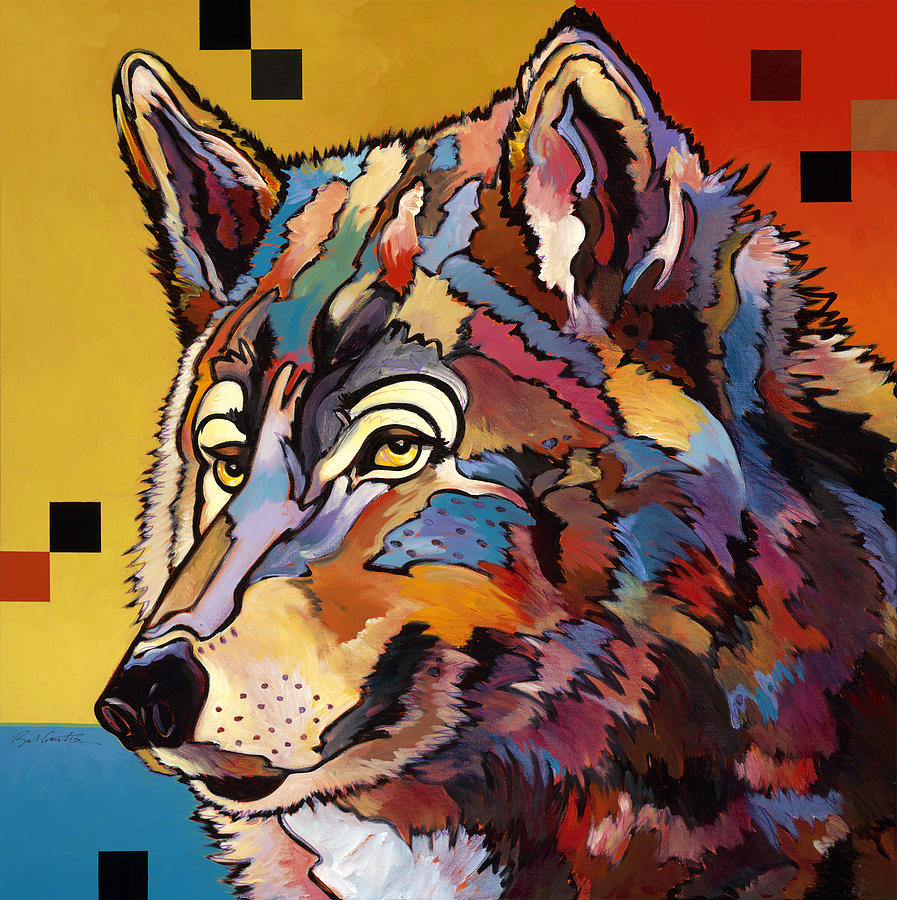 Spirit Wolf Painting by Bob Coonts Colorful Wolf Painting