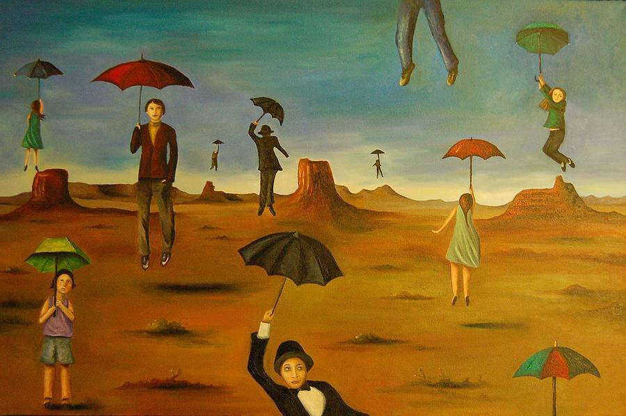 Umbrellas Painting - Spirits of the flying umbrellas by Leah Saulnier The Painting Maniac