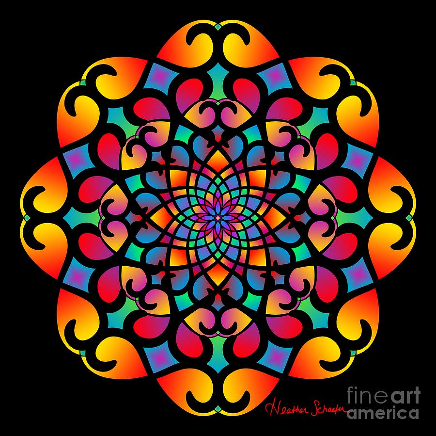 Spirograph Swirls Mandala by Heather Schaefer