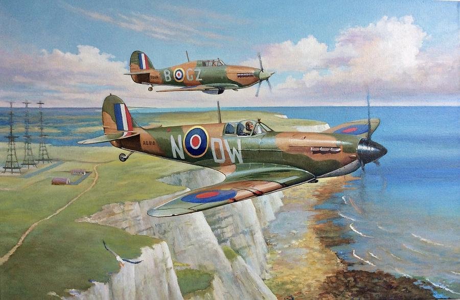 BEAUTIFUL AVIATION PRINT PICTURE PAINTING OF HURRICANES JULY 1940