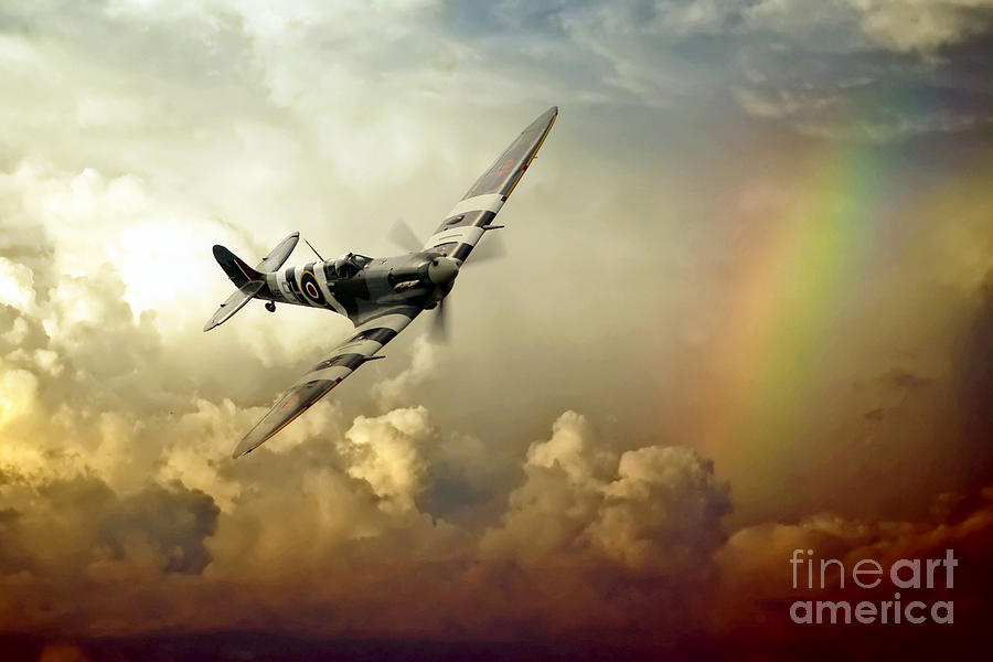 Spitfire Passing Through The Storm Digital Art