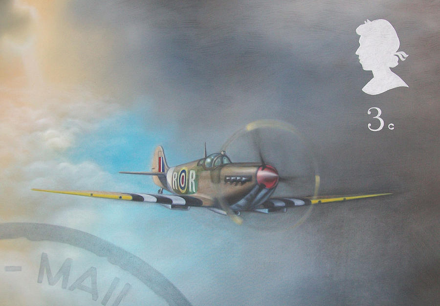 Spitfire Painting - Spitfire Postage Stamp by Riek  Jonker