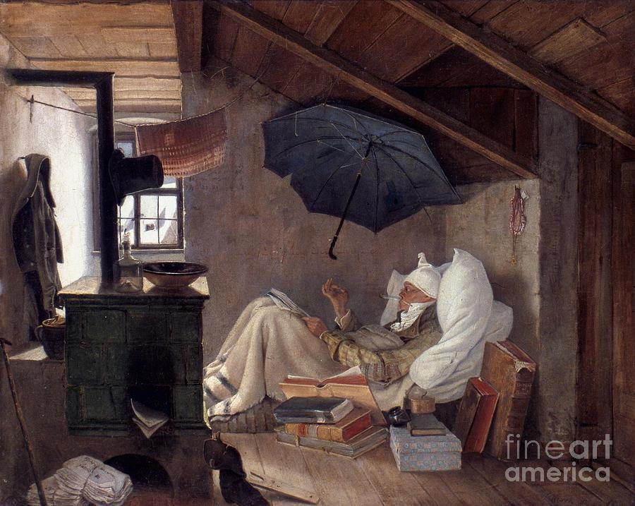 19th Century Photograph - Spitzweg: Poor Poet, 1839 by Granger