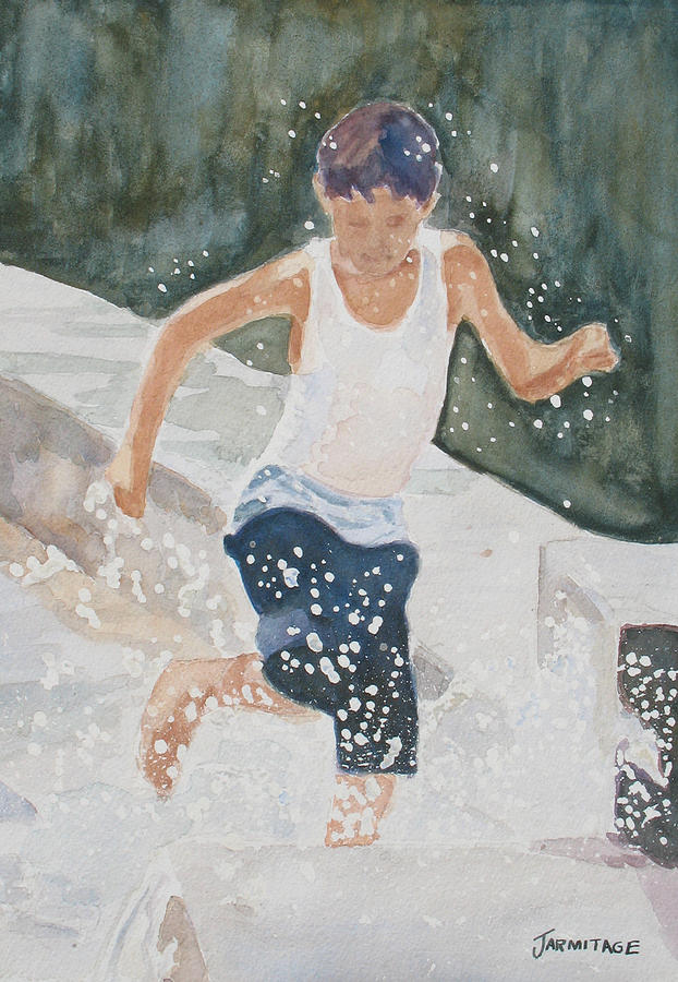 Boy Painting - Splash Dance by Jenny Armitage