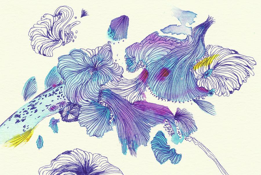 Lines Drawing - Splash - #ss18dw007 by Satomi Sugimoto