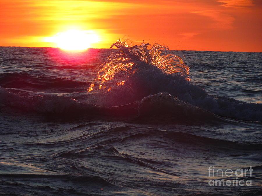 Grand Bend Photograph - Splash - Sunset On Lake Huron by Donica Abbinett