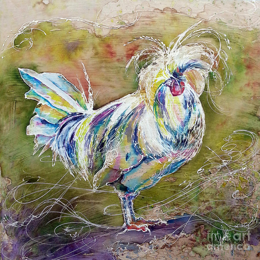 splash white polish chicken painting by christy freeman