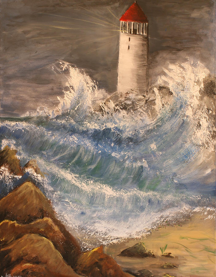 Light House Painting - Splash by Melisa Meyers