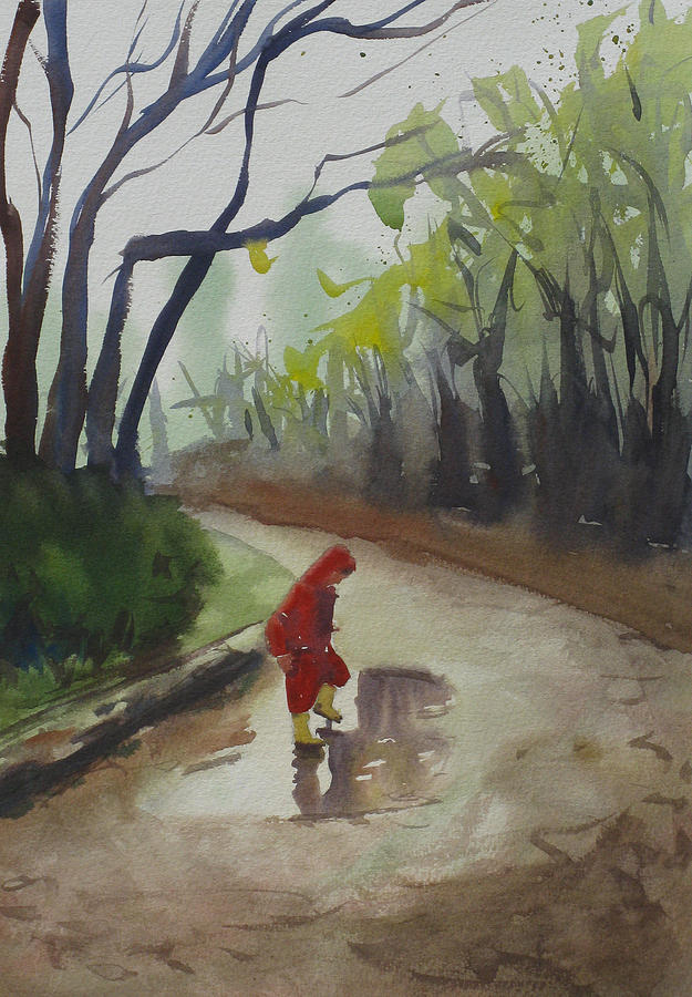 Child Painting - Splashing by John Holdway