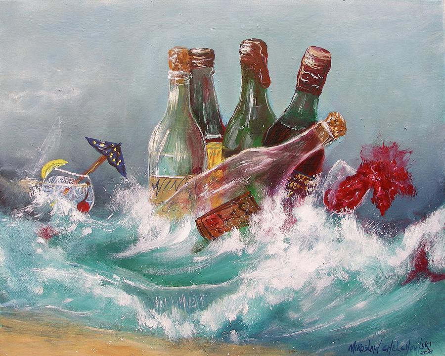 Splattered Wine Painting by Miroslaw  Chelchowski