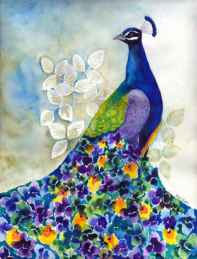 Peacock Painting - Splendid by Susy Soulies