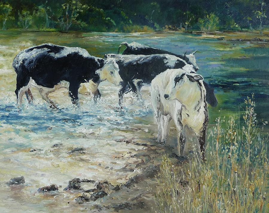 Cows Painting - Splish Splash by Diko
