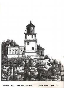 Split Rock Lighthouse Drawing - Split Rock Lighthouse by John  R Harris