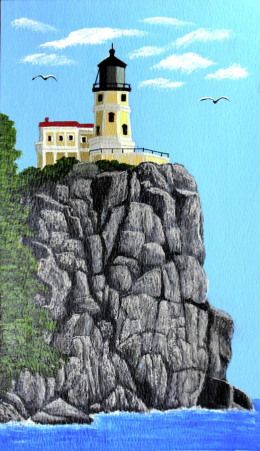 Landscape Paintings Painting   Split Rock Lighthouse Painting By Frederic  Kohli
