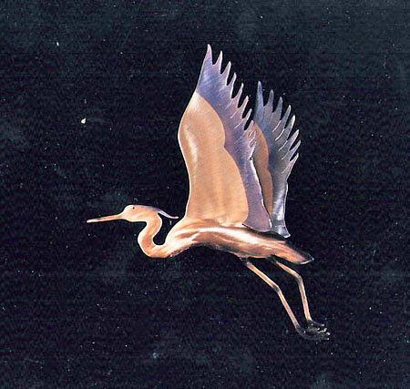 Birds Sculpture - Split Wing Heron by Glen Cowan