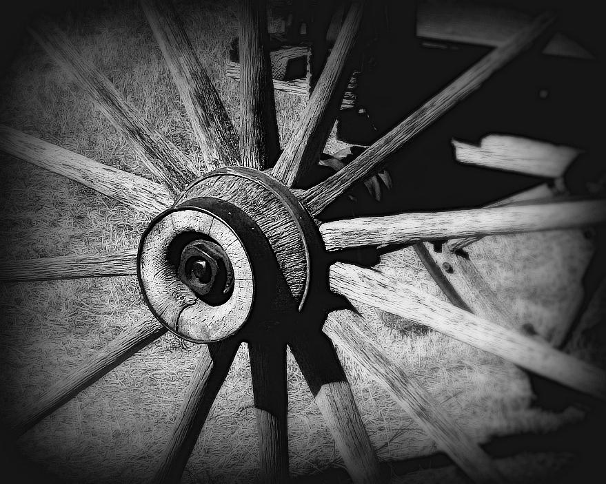 Wagon Photograph - Spoked Wheel by Perry Webster