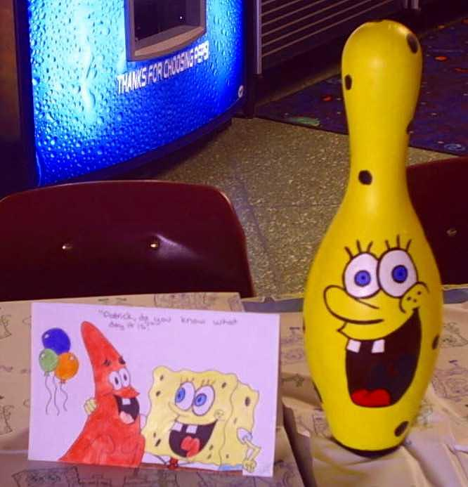 Spongebob Painting - Spongebob Bowling Pin And Card by M Brandl