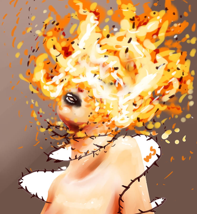 Fire Digital Art - Spontaneous Combustion by Willow Schafer